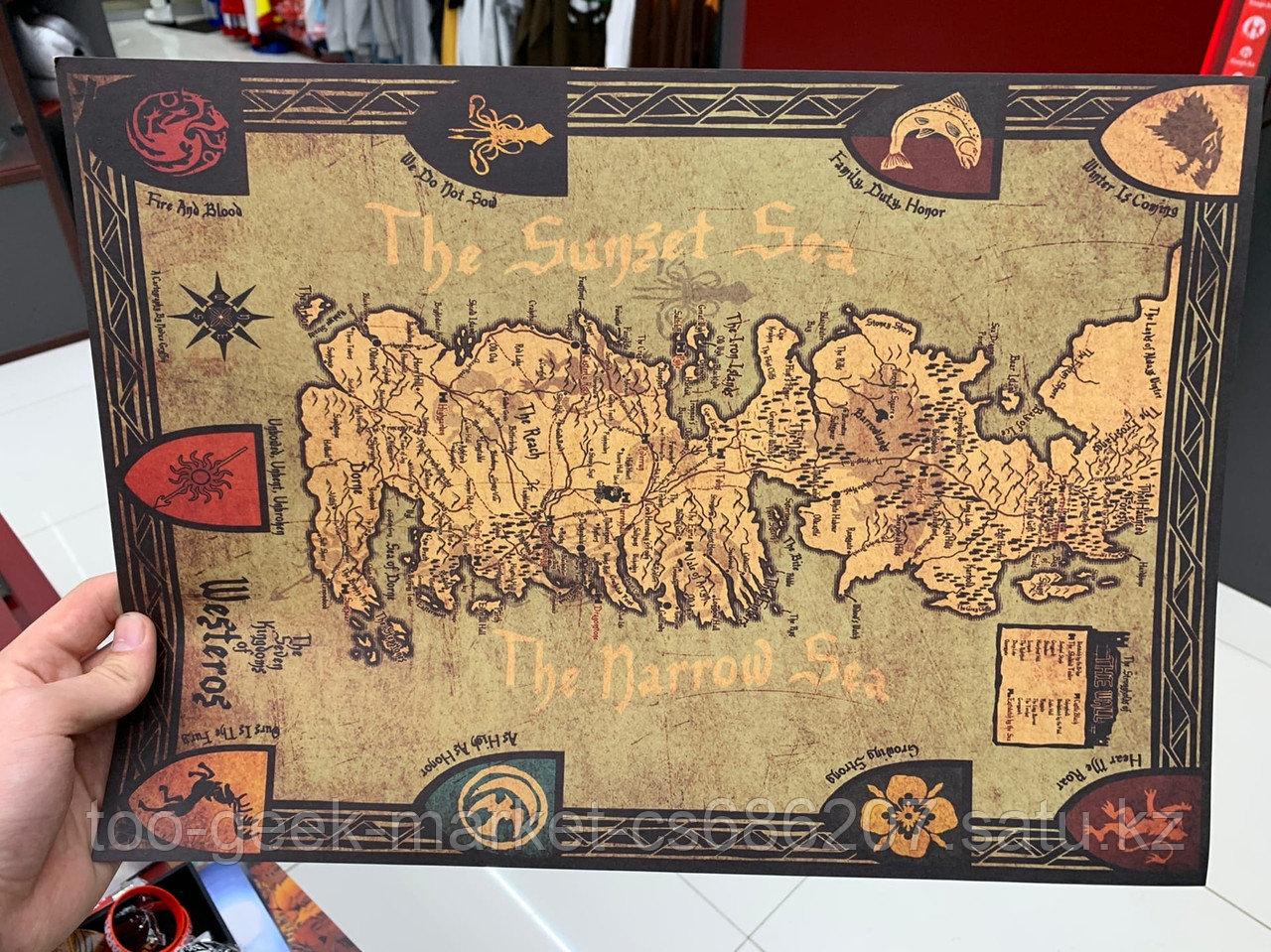 """Крафтовый постер """"Карта Вестероса"""""""