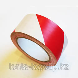 Разметочная клейкая лента, ПВХ, 150мкн Красно-белая, 48
