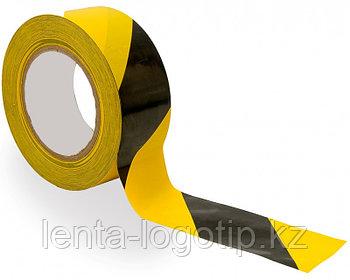 """Сигнальная лента """"Черная/желтая"""" 75 мм × 50 м"""