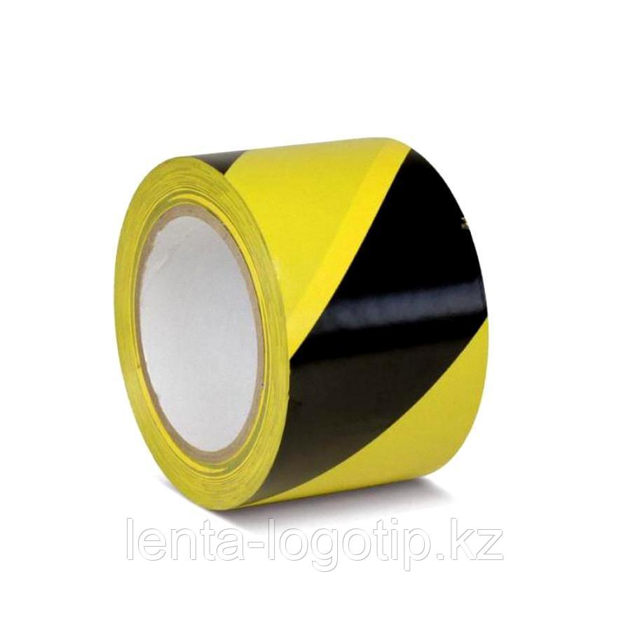Разметочная клейкая лента, ПВХ, 150мкн Черно-желтая, 24