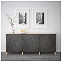 БЕСТО Комбинация для хранения с дверцами, под беленый дуб Кэлльвикен, темно-серый под бетон, 180x40x74 см, фото 1