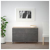 БЕСТО Комб для хран с дверц/ящ, под беленый дуб КЭЛЛЬВИКЕН/СУЛАРП, темно-серый под бетон, 120x40x74 см, фото 1