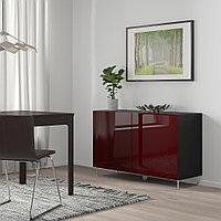 БЕСТО Комбинация для хранения с дверцами, черно-коричневый СЕЛЬСВ/СТАЛЛАРП, 120x42x74 см, фото 1