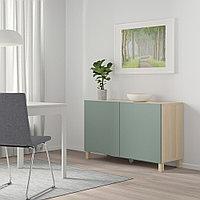 БЕСТО Комбинация для хранения с дверцами, под беленый дуб, нотвикен/стуббарп серо-зеленый, 120x42x74 см, фото 1