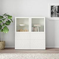 БЕСТО Комбинация д/хранения+стекл дверц, белый, вассвикен белый прозрачное стекло, 120x40x128 см, фото 1