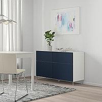 БЕСТО Комб для хран с дверц/ящ, белый, нотвикен/суларп синий, 120x42x74 см, фото 1