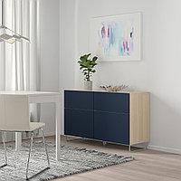 БЕСТО Комб для хран с дверц/ящ, под беленый дуб, нотвикен/суларп синий, 120x42x74 см, фото 1