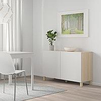 БЕСТО Комбинация для хранения с дверцами, под беленый дуб, Лаппвикен светло-серый, 120x40x74 см, фото 1