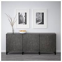 БЕСТО Комбинация для хранения с дверцами, черно-коричневый Кэлльвикен, темно-серый под бетон, 180x40x74 см, фото 1