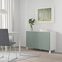 БЕСТО Комбинация для хранения с дверцами, белый, нотвикен/стуббарп серо-зеленый, 120x42x74 см, фото 1