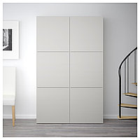БЕСТО Комбинация для хранения с дверцами, белый, Лаппвикен светло-серый, 120x40x192 см, фото 1