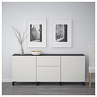 БЕСТО Комбинация для хранения с ящиками, черно-коричневый, Лаппвикен светло-серый, 180x40x74 см, фото 1