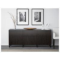 БЕСТО Комбинация для хранения с ящиками, Лаппвикен черно-коричневый, 180x40x74 см, фото 1
