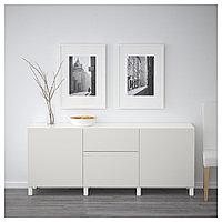 БЕСТО Комбинация для хранения с ящиками, белый, Лаппвикен светло-серый, 180x40x74 см, фото 1