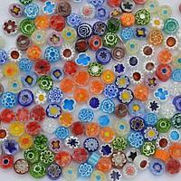 Стеклянные пластины MILLEFIORI COE104, Прозрачные, Смешанные d=8-10мм, 100г.