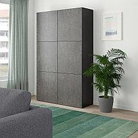 БЕСТО Комбинация для хранения с дверцами, черно-коричневый Кэлльвикен, темно-серый под бетон, 120x40x192 см, фото 1