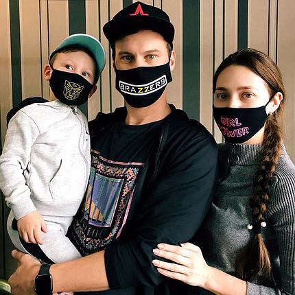 Маски лицевые трикотажные с нанесением для всей семьи, фото 2