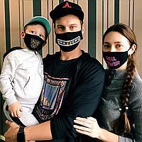 Маски лицевые трикотажные с нанесением для всей семьи