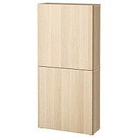 БЕСТО Навесной шкаф с 2 дверями, Лаппвикен под беленый дуб, 60x22x128 см, фото 1