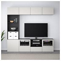БЕСТО Шкаф для ТВ, комбин/стеклян дверцы, черно-коричневый, Лаппвикен светло-серый  240x40x230 см, фото 1