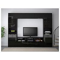 БЕСТО Шкаф для ТВ, комбин/стеклян дверцы, черно-коричневый, Сельсвикен глянцевый 300x40x230 см, фото 1