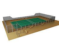 Строительство теннисных кортов (Теннисный корт с ограждением (26м х 14м = 364 м2))