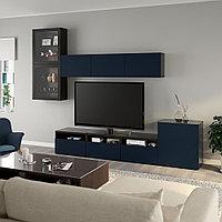 БЕСТО Шкаф для ТВ, комбин/стеклян дверцы, черно-коричневый, Нотвикен синий прозрачное стекло, 300x42x211 см, фото 1