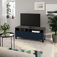 БЕСТО Тумба д/ТВ с ящиками, черно-коричневый, нотвикен/стуббарп синий, 120x42x48 см, фото 1