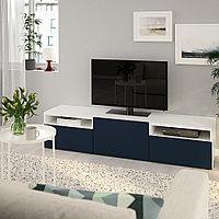 БЕСТО Тумба под ТВ, белый, Нотвикен синий, 180x42x39 см, фото 1