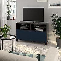 БЕСТО Тумба под ТВ, с дверцами, черно-коричневый, нотвикен/стуббарп синий, 120x42x74 см, фото 1