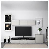 БЕСТО Шкаф для ТВ, комбин/стеклян дверцы, черно-коричневый, Лаппвикен светло-серый , 300x20/40x211 см, фото 1