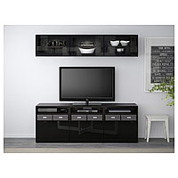 БЕСТО Шкаф для ТВ, комбин/стеклян дверцы, черно-коричневый, Сельсвикен глянцевый180x40x192 см, фото 1