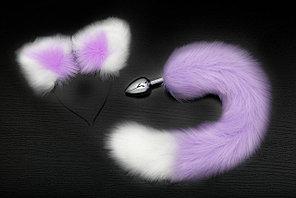 Анальная пробка с хвостом и ушками, L пробки 7.0 см, D 2.8 см, цвет фиолетовый