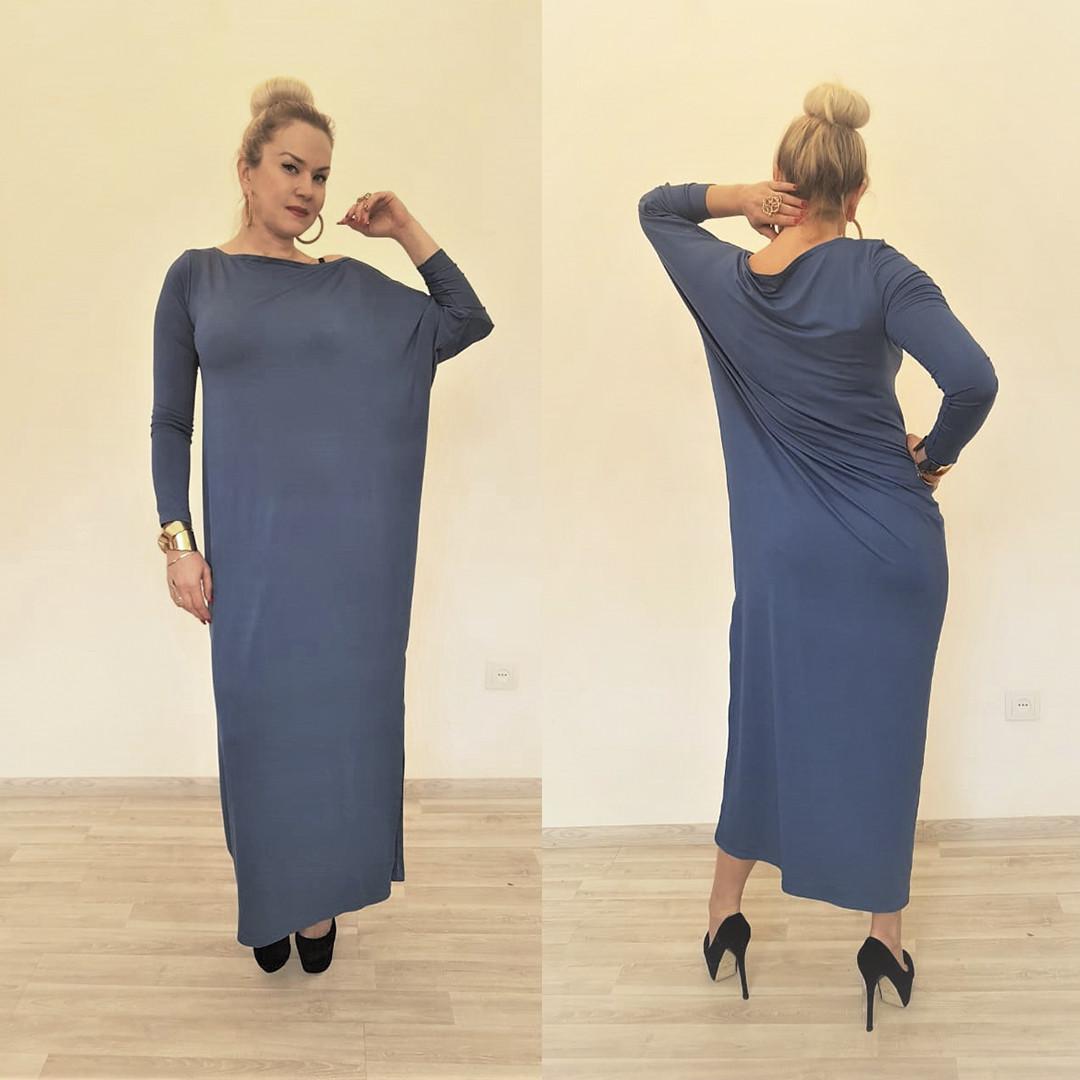 Платье трикотажное с длинными рукавами ассиметричное - фото 5