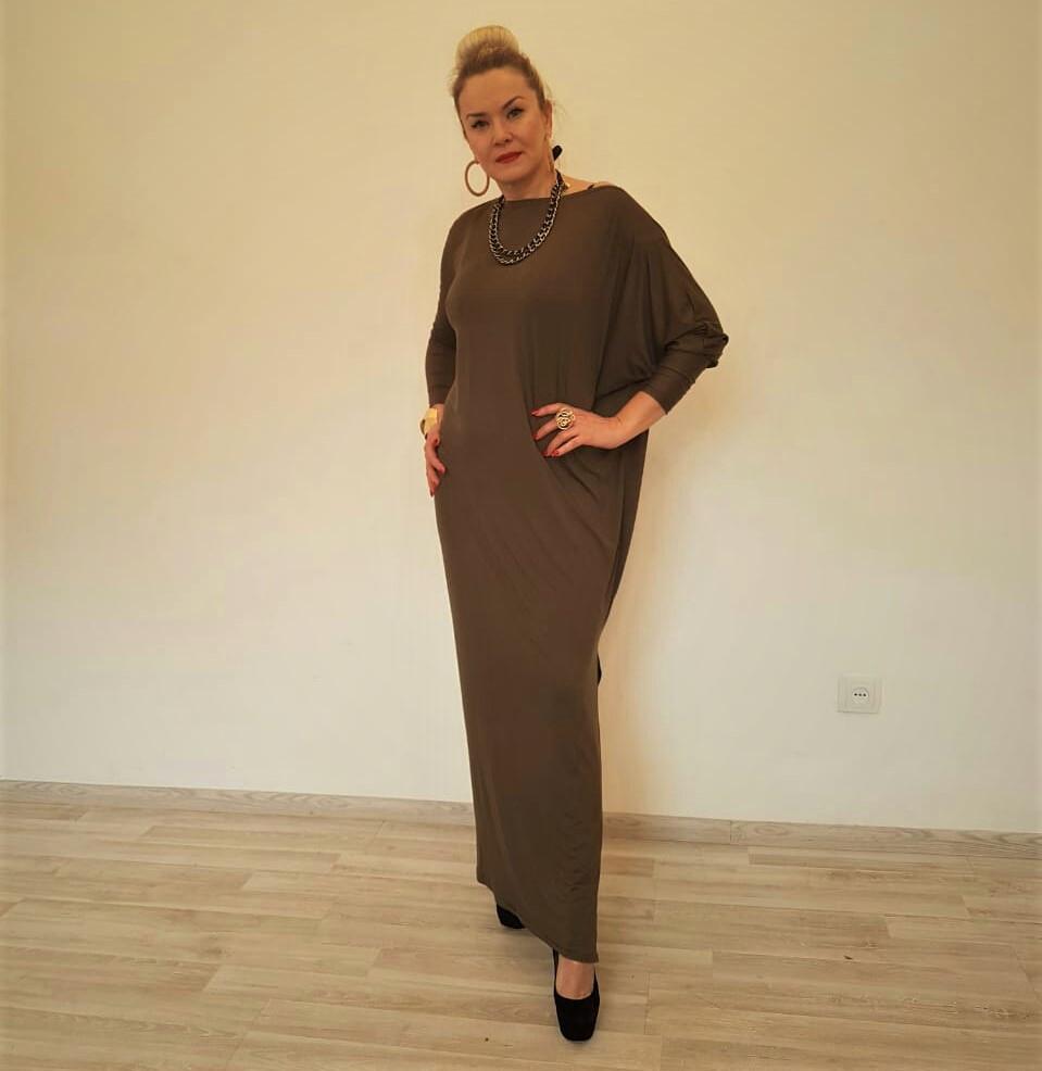 Платье трикотажное с длинными рукавами ассиметричное - фото 6