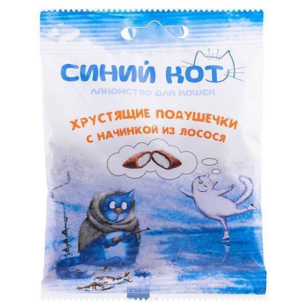 Хрустящие подушечки Синий Кот для кошек с паштетом (Лосось), TitBit - 30 г