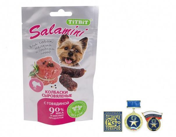 Колбаски сыровяленые Salamini для собак мелких и средних пород (Индейка), TitBit - 40 г