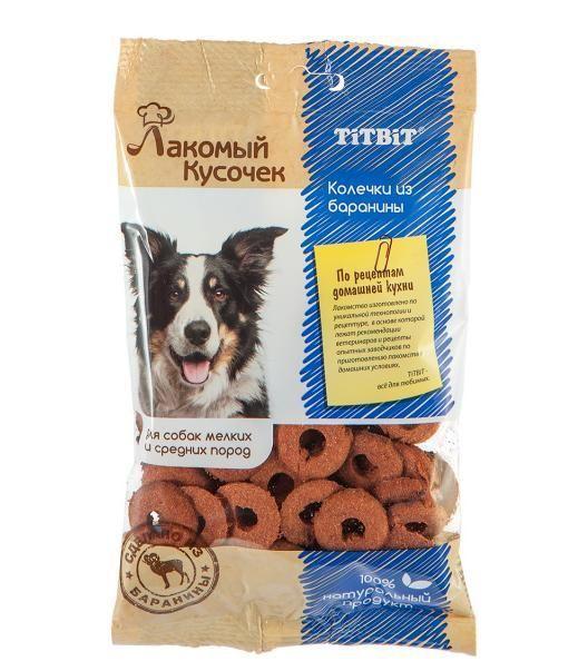 Колечки Лакомый Кусочек для собак мелких и средних пород (Баранина), TitBit - 80 г