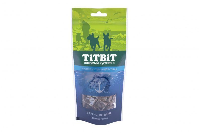 Кубики из трески для собак, TitBit - 75 г