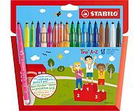 Фломастеры STABILO Trio A-Z, трехгранные, смываемые, 18 цветов