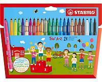 Фломастеры STABILO Trio A-Z, трехгранные, смываемые, 24 цвета