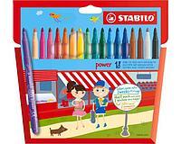 Фломастеры STABILO Power, смываемые, с усиленным наконечником, 18 цветов