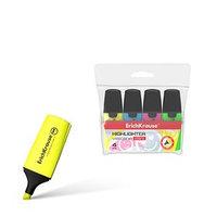 Набор маркеров текстовыделителей 4 цвета 0.6-5.2 мм Erich Krause Mini, футляр, цвет чернил жёлтый, зелёный,