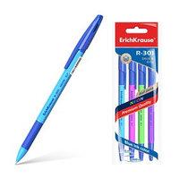 Набор ручек шариковых 4 штуки R-301 Neon Stick Grip, узел 0.7 мм, чернила синие, резиновый упор, длина линии