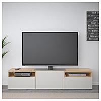 БЕСТО Тумба под ТВ, под беленый дуб, Лаппвикен светло-серый, 180x42x39 см, фото 1