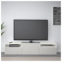 БЕСТО Тумба под ТВ, белый, Лаппвикен светло-серый, 180x42x39 см, фото 1