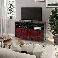 БЕСТО Тумба под ТВ, с дверцами, черно-коричневый СЕЛЬСВ/СТАЛЛАРП, глянцевый темный  120x42x74 см, фото 1