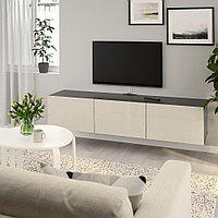БЕСТО Тумба под ТВ, с дверцами, черно-коричневый, Сельсвикен глянцевый/бежевый, 180x42x38 см, фото 1