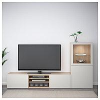 БЕСТО Шкаф для ТВ, комбин/стеклян дверцы, под беленый дуб, Лаппвикен светло-серый 240x40x128 см, фото 1