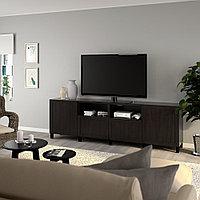 БЕСТО Тумба под ТВ, с дверцами и ящиками, черно-коричневый, ХАНВИКЕН/СТУББАРП черно-коричневый, 240x42x74 см, фото 1